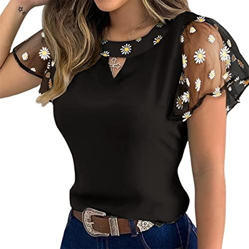 WangsCanis Blusa de verano para mujer, informal, elegante, vintage, con mangas cortas, de tul, bordado, floral