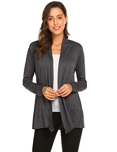 Newchoice Womens Long Sleeve Casual Lightweight Cardigan Sweaters Soft Drape Open Front Fall Dusters (Dark Grey, L)