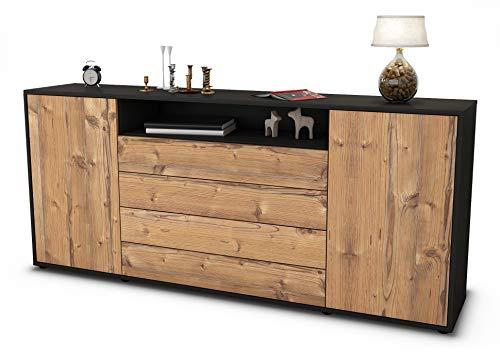 Stil.Zeit Sideboard Enzo/Korpus anthrazit matt/Front Holz-Design Pinie (180x79x35cm) Push-to-Open Technik & Leichtlaufschienen