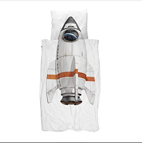 Snurk Queen Duvet Cover and Pillowcase Set for Kids 100% Cotton Soft Cover for Your Little One – Rocket Ship Queen Duvet Cover and Pillowcase