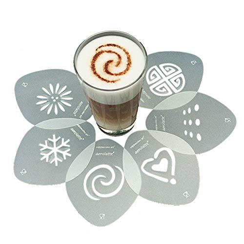 Aerolatte 035 Cappuccino Stencil Set, For Latte Coffee Art, Set of 6...