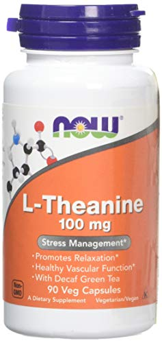 Now Foods | L-Theanin | 100 mg | 90 vegane Kapseln | glutenfrei | sojafrei