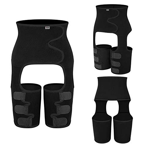 SHDAS 3 En 1 Cintura Entrenador, Quema de Grasa, Soporte Lumbar para la Espalda, cinturón de Entrenamiento Abdominal Adelgazante con Vientre Ajustable Dobleblack-Large