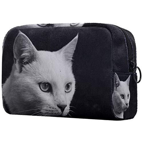 Schminktasche Travel Cosmetic Bag Pouch Geldbörse Handtasche mit Reißverschluss - White Cat Cool Animal Dark
