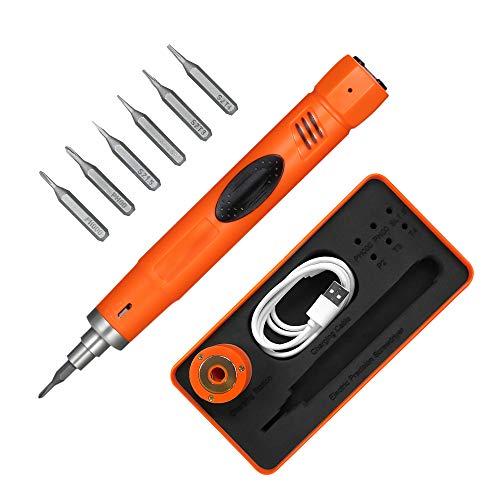 KKmoon mini Juego de Destornilladores de Precisión Tipo de pluma Destornillador Eléctrico Inalámbrico, con 6pcs bits, para la Reparación del Teléfono móvil Torque Ajustable