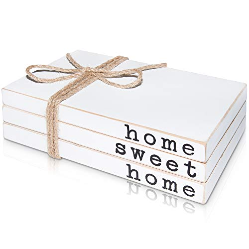 Wooden Decorative Books for Your Home Sweet Home - Farmhouse Book Decor for Fireplace Mantle - Stack of 3 Faux Books for Decoration - Fake Decor Books for Coffee Table, Rustic Bookshelf or Entryway