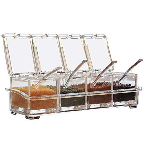 muskmelon 4Pcs Caja de Condimentos Cocina Caja Condimento Acrílico Transparente Caja Condimentos con Tapa Multifunción Utensilios De Cocina para Cocina Casera Hotel
