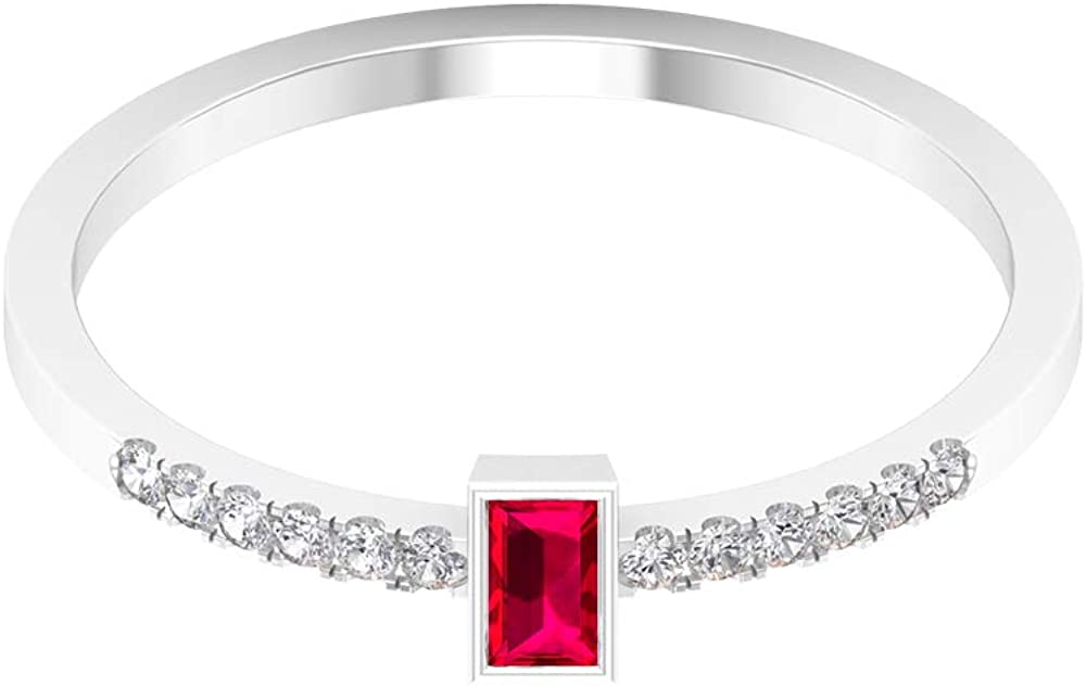 1/3 CT Solitaire Ruby Ring, 1.2 MM HI-SI Diamond Accent Ring, Gold Engagement Ring (3.5X2 MM Baguette Ruby), 14K Gold