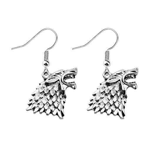 FAADBUK Game of Thrones Inspired Gift House of Stark Dire Wolf Earrings GOT Fans Gift