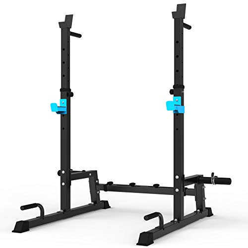 JX FITNESS Squat Rack Multi-Function Barbell Rack Height Adjustable Dip Stand Home Gym Weight Lifting Bench Press Dip Station Push up Portable Strength Training Dumbbell Rack