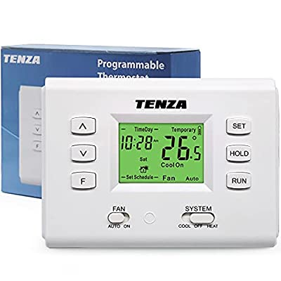 CML 7 Day Digital Home Programmable Thermostat with Large Buttons and Single Stage for Heat/Cool, HVAC Furnace, Heat Pump, Air Conditioning, Line Voltage or Battery, Filter Reminder, White