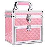 Frenessa Nail Polish Organizer Travel Case Manicure Accessory Storage Makeup Box With Mirror Keys Portable Cosmetic Train Case Jewelry Box with Drawer lockable - Pink