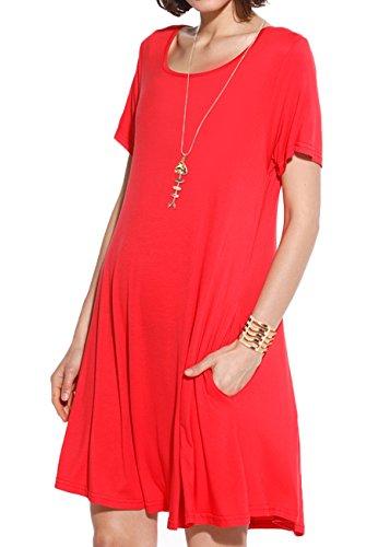 JollieLovin Women's Pockets Casual Swing Loose T-Shirt Dress (Red, 2X)