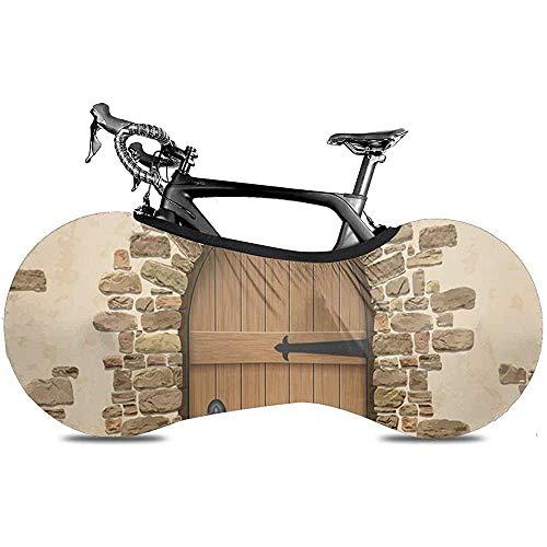 Cubierta de Rueda de Bicicleta, Cubierta de Bicicleta - Arco de ladrillo marrón de Piedra Entrada de Puerta de Madera Cerrada
