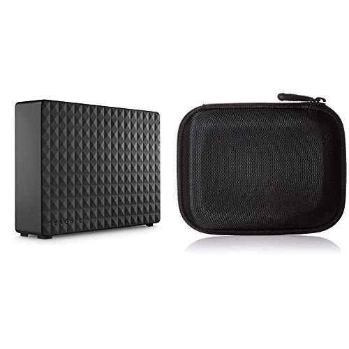 Seagate Expansion Desktop, 6 TB, Externe Festplatte, 3.5 Zoll, USB 3.0, PC & Notebook, Modellnr.: STEB6000403 & Amazon Basics Festplattentasche, schwarz