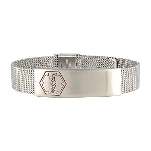 Best Deals! AMERICAN MEDICAL ID – Sleek Mesh Medical Alert ID Bracelet – Surgical Stainless Steel, Adjustable ID Band Sizing & Clasp, 4 Lines Personalized Engraving Included