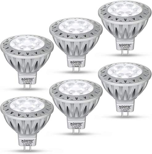 AGOTD LED MR16 12V GU5.3 Lampe Kaltes Weiß,50W Halogenlampe Äquivalent,7 Watt Glühlampen, Hohe Helligkeit, 6000K, 50mm Durchmesser, Aluminium,560LM,38 °Deg,GU 5.3 Sockel,SMD LEDS Strahler, 6er Pack