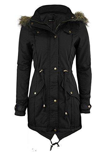 Cexi Couture - Damen Jacke Schwalbenschwanz Parka Mit Kapuze Mantel Übergröße 36-50 - EU 48, Schwarz