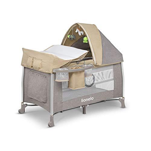 Lionelo Simon 2in1 Reisebett Baby, Laufstall Baby ab Geburt bis 15kg, Spielkarussell mit Spielzeug, Moskitonetz, zusammenklappbar (Sand)