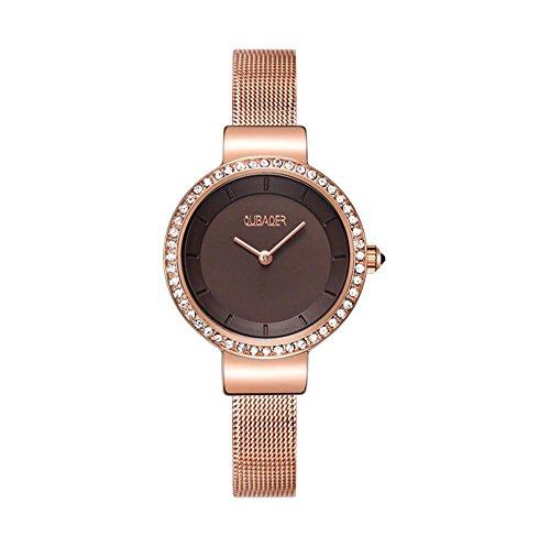 XINLEE Damenuhr Zeigeranzeige ultradünne solide Stahlgitter mit wasserdichter Uhr, 004