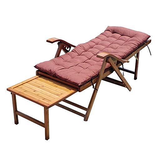 BANNAB Tumbona de bambú, sillón reclinable Plegable Ajustable para jardín/Patio/balcón, Tumbona de...