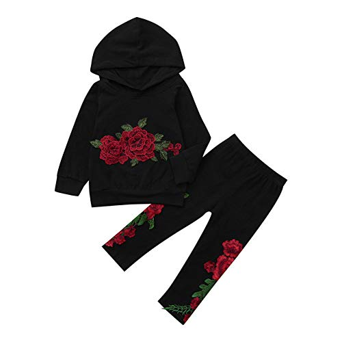 Toddler Baby Boys Girls Floral Rose Print Hoodie Tops + Pants Outfits Clothes-in Clothing Sets from Mother & Kids