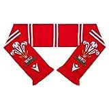Macron Wru Foulard de rugby pour fan du Pays de Galles - Accessoire de fan de rugby - Unisexe - Pour homme et femme - Couleur : rouge et blanc - Taille unique