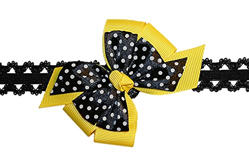 WD2U Baby Girls Infant Yellow Black Bee Dotted Hair Bow Stretch Headband