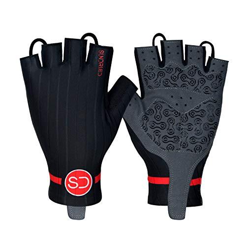 Sundried Pro Padded Fingerless Zyklus Handschuhe Rennrad MTB Herren und Damen Radsport Zubehör (Schwarz, M)