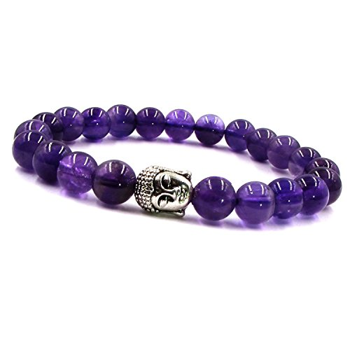 ARIHANT HANDICRAFTS Blue Natural Amethyst Stone Bracelet (8 mm Beads, Free Size)