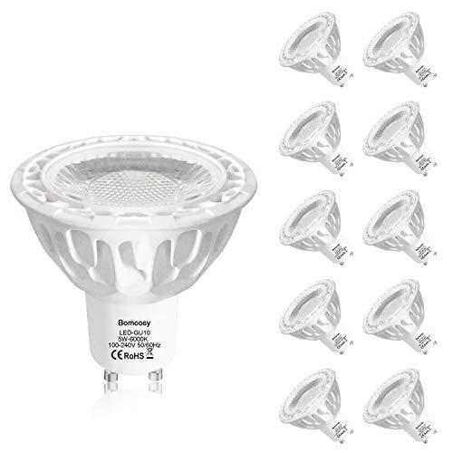 Bomcosy Ampoules LED GU10 6W Dimmable (équivalent 50W Ampoule Halogène), Spots LED 540 Lumens, 35°Faisceaux, GU10 Led Blanc Froid 6000K Lot de 10