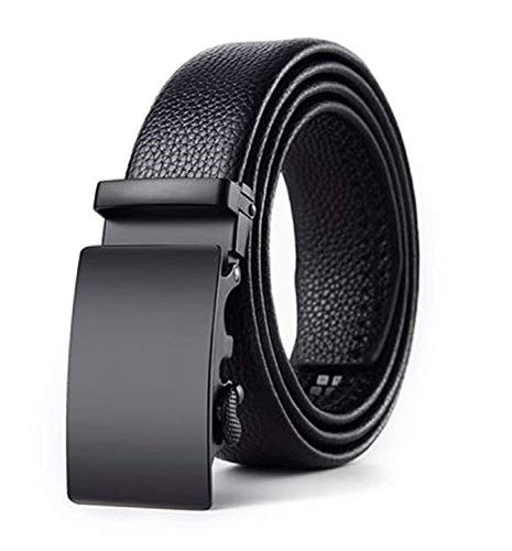 Zacharias Men's Faux Leather Belt Automatic Buckle AB-001 (Black;Free Size)