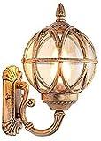 FGDSA Außenleuchten Bronze Gusseisen Außenlampe Runde Kugelglasscheibe E27 wasserdichte Gartenlampe Treppenlampe Balkonlampe Schlafzimmerlampe (17,5 * 20,5 * 31CM)