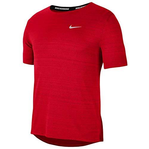 Nike Dry Miler Top SS Ghost T-Shirt Uomo Running Manica Corta Rosso, M