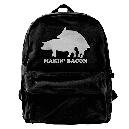 Makin' Bacon Backpack Portable Oxford Cloth Travel Bag Water Resistant College School Schoolbag for Mens & Womens
