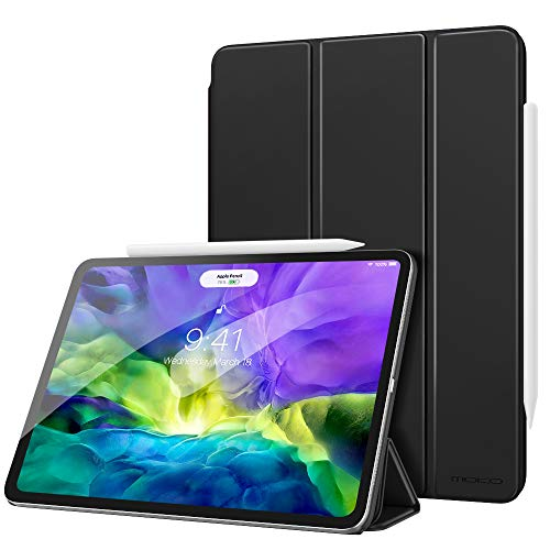 MoKo Smart Folio Case Fit iPad Pro 12.9 4th Generation 2020 & 2018 - [Support Apple Pencil 2 Charging] Slim Lightweight Smart Shell Stand Cover, Strong Magnetic Adsorption, Auto Wake/Sleep - Black
