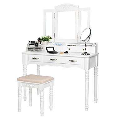 SONGMICS Vanity Table Set, Tri-folding Necklace Hooked Mirror, 7 Drawers, 6 Organizers Makeup Dressing Table with Cushioned Stool Easy Assembly, Gift for Girls White URDT06M