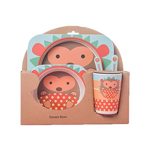 Elonglin Kinder Kindergeschirr-Set 5-teiliges aus Bambus-Geschirr Kindergeschirrset Geschirr-Set Cartoon Tier als Geschenk Igel