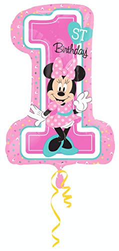 amscan 3435201 Folienballon Minnie 1st Birthday, Mehrfarbig