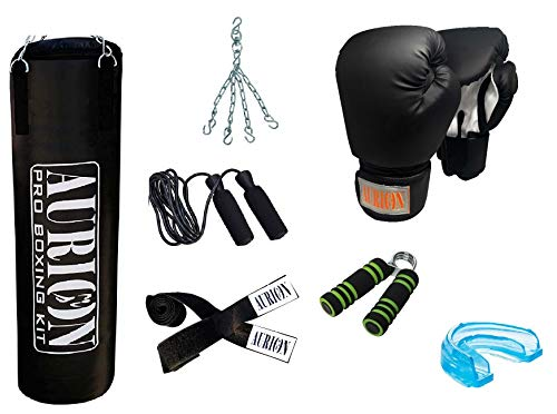 Unfilled Heavy Punch Bag Set Kick Boxing MMA Heavy Training Muay Thai with Accessories (4 - Feet with Skipping Rope + Boxing Glove+Hand Gripper+Hand Wrap+Mouth Guard +Hanging Chain)