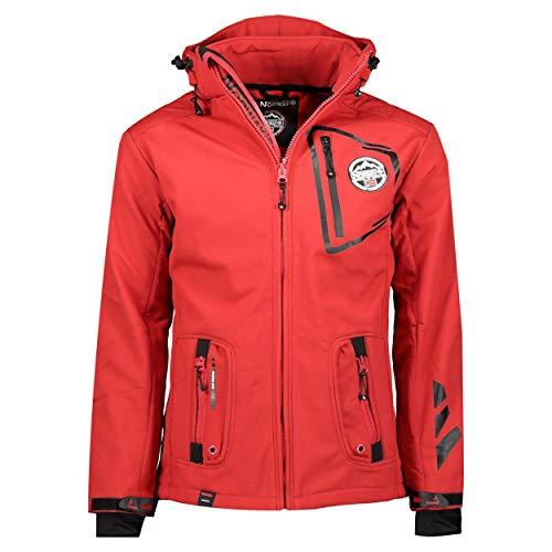 Geographical Norway TACEBOOK - Veste Softshell Homme Impermeable - Manteau à Capuche Outdoor - Coupe Vent Tactique Resistant Hiver - Blouson Activites en Exterieur (Rouge M)