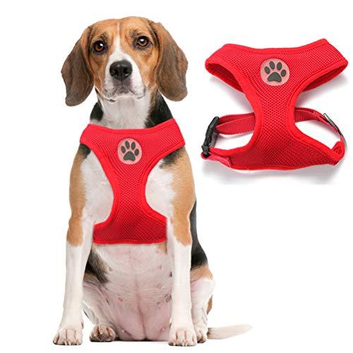 Soft Mesh Dog Harness Pet Walking Vest Puppy Padded Harnesses Adjustable, Red Medium