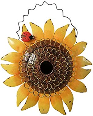 Decorative Sunflower Birdhouse for Outside Hanging Bird House Metal with Ladybug Spring Summer Outdoor Garden Decor