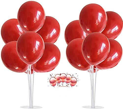 JIASHA 2 Pezzi Supporto Palloncino Balloon Tree Kit,Trasparente cremagliera e 16pcs Palloncini,per Feste di Compleanno e Decorazioni di Nozze Palloncini Decorazioni per Feste e Natale (Rosso)