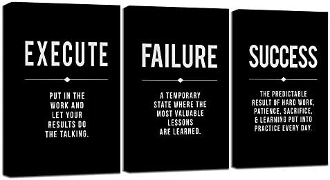 Framed Canvas Wall Art Success Quote Office Wall Art Black Large Poster Positive Motivational product image