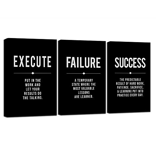 Framed Canvas Wall Art Success Quote, Office Wall Art, Black Large Poster, Positive Motivational Set of 3 Prints, Execute Failure Definition, Inspirational Print (A-3pcs,12x16inchx3pcs)