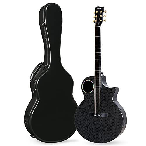 """Enya Carbon Fiber Acoustic Electric Guitar X4 Pro AcousticPlus 41"""" Cutaway Guitar Bundle with Hard Case, Leather Strap(EA-X4E Pro)"""
