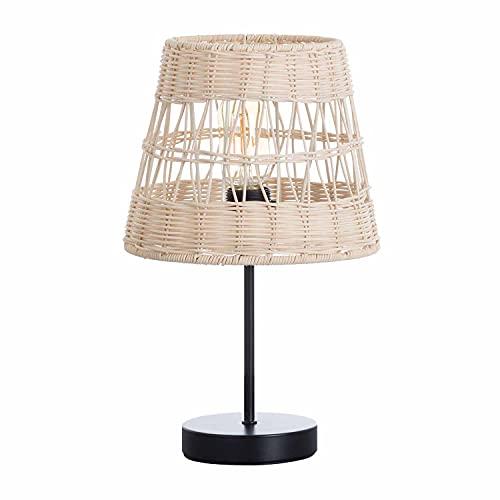 Lámpara de Mesa con Tulipa de Ratán y Base Negra de Metal   Modelo Yuga 7hSevenOn Deco   Lámpara de Sobremesa Estilo Boho   Lámpara Interior para Salón Comedor Dormitorio.   22,5x22,5x37cm