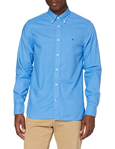 Tommy Hilfiger Light Weight Oxford Shirt Camicia, Blu (Clear Blue), M Uomo
