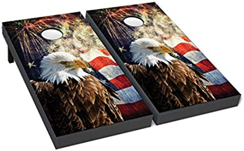 BackYardGamesUSA Cornhole Boards Beanbag Toss Game with Bags Patriotische US American Eagle Flagge 224